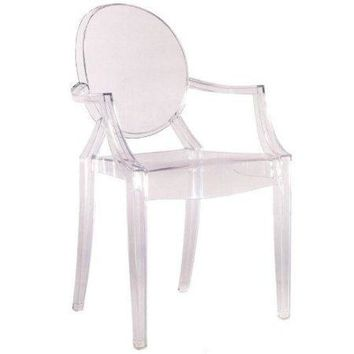 Clear Stacking Acrylic Arm Chair - Indoor or Outdoor Dining Chair