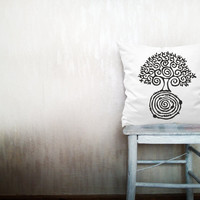 Tree of life pillow decorative throw pillow cover white cotton toss pillow case hand painted cushion rustic bedding set 18x18 inches