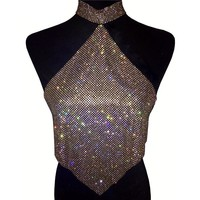 Ade- Crystal Rhinestone Crop Choker Top
