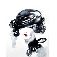 Print of my original watercolor painting .The woman in black Portrait . Black . Red