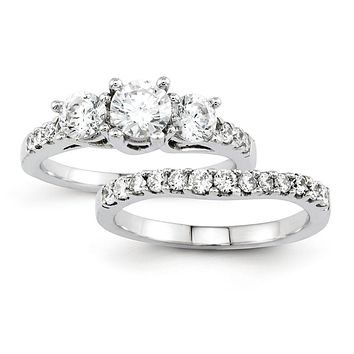 Certified 1.50 Ct. Three-Stone Diamond Bridal Engagement Ring Set in 14K White Gold