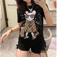 """Louis Vutitton"" Woman Casual  Wild Fashion Pattern Letter Printing Short Sleeve T-Shirt Tops"