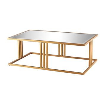 1114-198 Andy Coffee Table In Gold Leaf And Clear Mirror