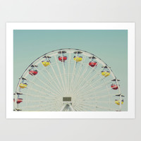 Santa Monica Pier Ferris Wheel Art Print by SoCalPhotography