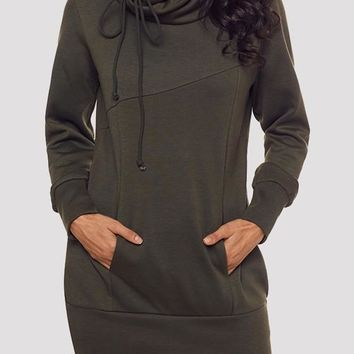 Army Green Pockets Drawstring Hooded Cowl Neck Long Sleeve Sweatshirt