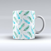 The Feathery Watercolor ink-Fuzed Ceramic Coffee Mug