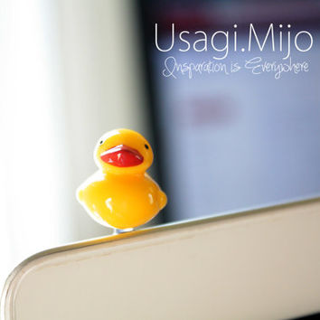 SALE30-70%OFF: Cute Duck iPhone Plug . Dust Plug . Phone Plug . Phone Charm Chicken, Kawaii, Lovely, Girly, Animal