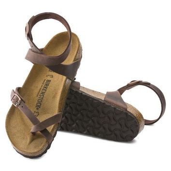 Sale Birkenstock Yara Oiled Leather Habana 13391 Sandals