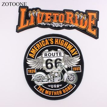 DIY Embroidered Applique Eagle Wing Rock Motorcycle Large Back Iron On Patch For Clothing Jacket Biker Punk Patch Stickers H