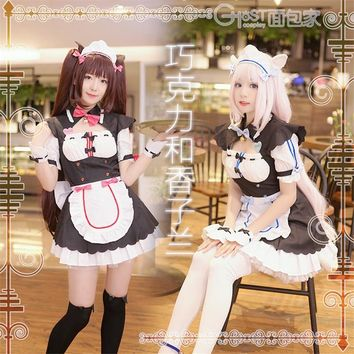 2018 New Womens NEKOPARA Chocola Vanilla Maid Cosplay Costume Sexy Cute Dress Full Set Cat Maid Servant Dress Lolita Style