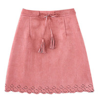 Pink Scalloped Hem Mini Skirt