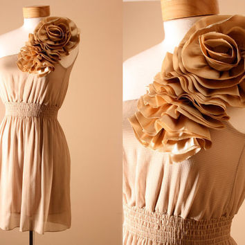 Ruffle, Tiered, Flower, Formal, Evening Dress, Summer Dress, Off Shoulder, Sundress in Hazelnut (S,M)