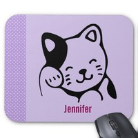 Cute Black and White Kitty Cat Waving Hello Mouse Pad