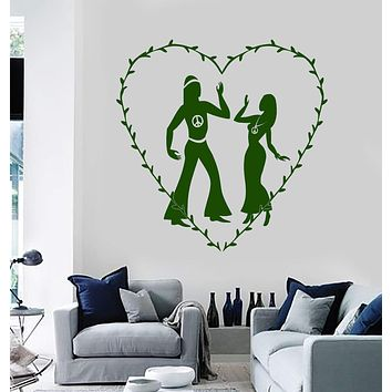 Vinyl Wall Decal Hippie Peace Love Couple Stickers Mural Unique Gift (ig3796)