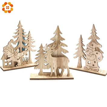 1Set Creative DIY Wood Crafts Christmas Santa Claus&Snowman Wooden Ornaments For Christmas Party Supplies Home Table Decorations
