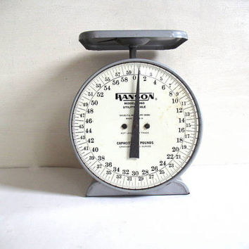 Vintage Hanson Model 2060 Utility Scale in Gray and White. 60 pound capacity