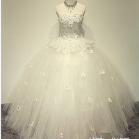 Exclusive sweetheart neckline flowers beaded 2 layers long ball gown tulle satin plus size wedding dress ET177