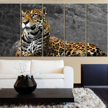 Large Wall Canvas Art Print Leopard Wild Animal Life for Home Decoration,Canvas Painting | Leopard Photo Print Canvas
