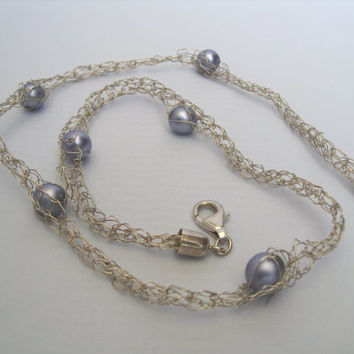 Knitting Necklace silver wire with purple blue pearlbeads; bubble jewelry