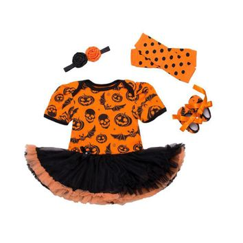 Halloween 2017 Infant Girls Pumpkin Romper+headband+Shoes+Leg Warmer Party Costume 4pcs/Set Sunsuit Outfits Baby Girl Clothes
