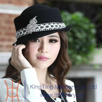 Free Shipping Fashion  Elegant Ladies Wool Felt Hat Women Hat Short Roll Brim Natural Pure Wool Black Grey Two Colors Available