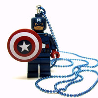 Captain America Necklace - made from NEW Superhero Captain America Lego Minifig