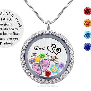Friendship Love Gift, Best Friends Pendant Necklace, Floating Living Memory Locket with Birthstone Charm
