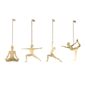 Brass Yoga Pose Ornaments (Set of 4)