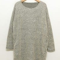 *Free Shipping* Women Knitting Grey Sweater One Size YL956621 from efoxcity