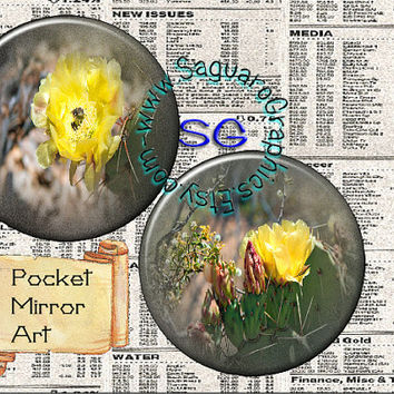 Desert Flowers Beauty Art - Digital Collage Sheet - 2.625 inch Circles for Pocket Mirrors, Weddings, Party Favors, Arts & Crafts