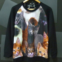 Cat family,black cat sweater,kitten,pet,animal shirt, Long sleeve,Jumper Crewneck Sweater size M,L women,men tees by Cute classic shop