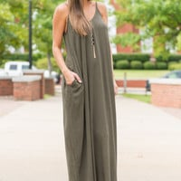 Good To Flow Maxi Dress, Olive