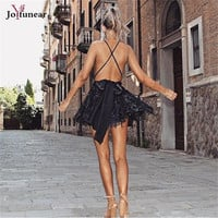Deep V Neck Lace Sequin Jumpsuit Sexy Women strap Sleeveless  Playsuit 2016 Vintage backless  Romper Overall Party