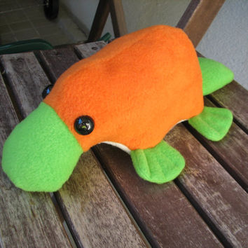 Little Platypus Plushie - Orange and Green Stuffed Animal Toy