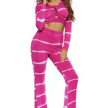 Chicloth Rosy Tie Dye Print Sexy Two Piece Pant Set