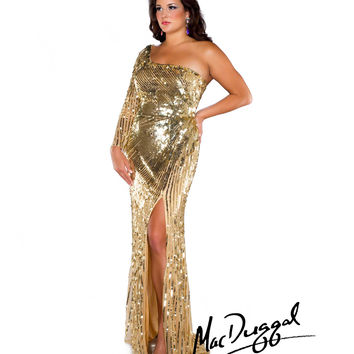 Mac Duggal 2014 Plus Size Prom Dresses - Gold Sequin One Shoulder Asymmetrical Illusion Sleeve Long Gown