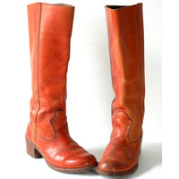 Vintage Dexter Boots Orange Leather Riding or Cowboy Boots for Ladies size 8M