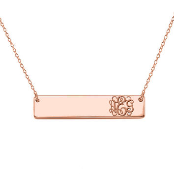 Shop solid gold bar necklace on wanelo 14k rose gold monogram bar necklace 14k solid rose gold pendant aloadofball Image collections
