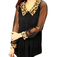 Women Peter Pan Collar Leopard Prints Semi Sheer Lined Pleated Blouse