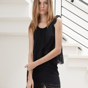 Alexis Pip Lace Top in Black Lace
