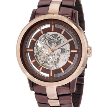 Kenneth Cole KC9031 Men's Rose Gold & Brown Ion Plated SS Skeleton Dial Watch