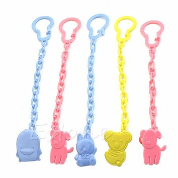 Cute Baby Infant kids Dummy Pacifier Soother Chain Clips Holder Toddler Toy