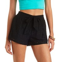 BELTED HIGH-WAISTED LACE SHORTS