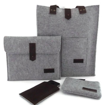Felt Bag- Felt iPad Sleeve- Felt iPhone Case- Felt Clutch Bag- Felt and Leather- Set of Four