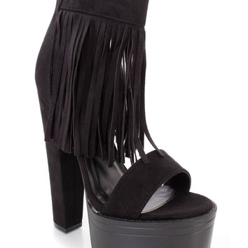 Black Fringe Chunky High Heels Faux