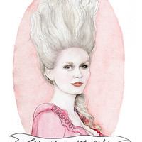 Marie Antoinette watercolor portrait illustration by ohgoshCindy
