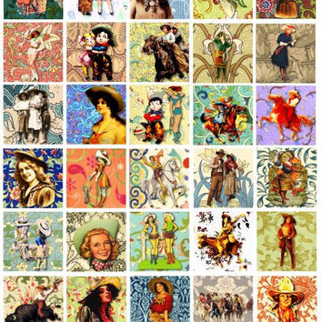 Cowgirls flowers floral clip art digital download COLLAGE SHEET 1.5 inch squares cow girls pin up girls printable art for pendants magnets