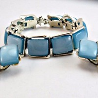 Moonglow Bracelet and Earrings Set Luminescent Blue Squares and Silver Tone Signed Kramer NY