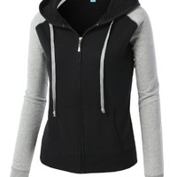 MBJ Womens Basic Soft Fitted Zip Up Hoodie Jacket