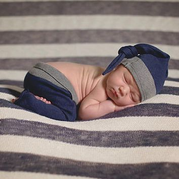 2pcs Newborn Photography Props Clothing Knitted Baby Clothes Blue Long Pant With Hats Outfits For Infant